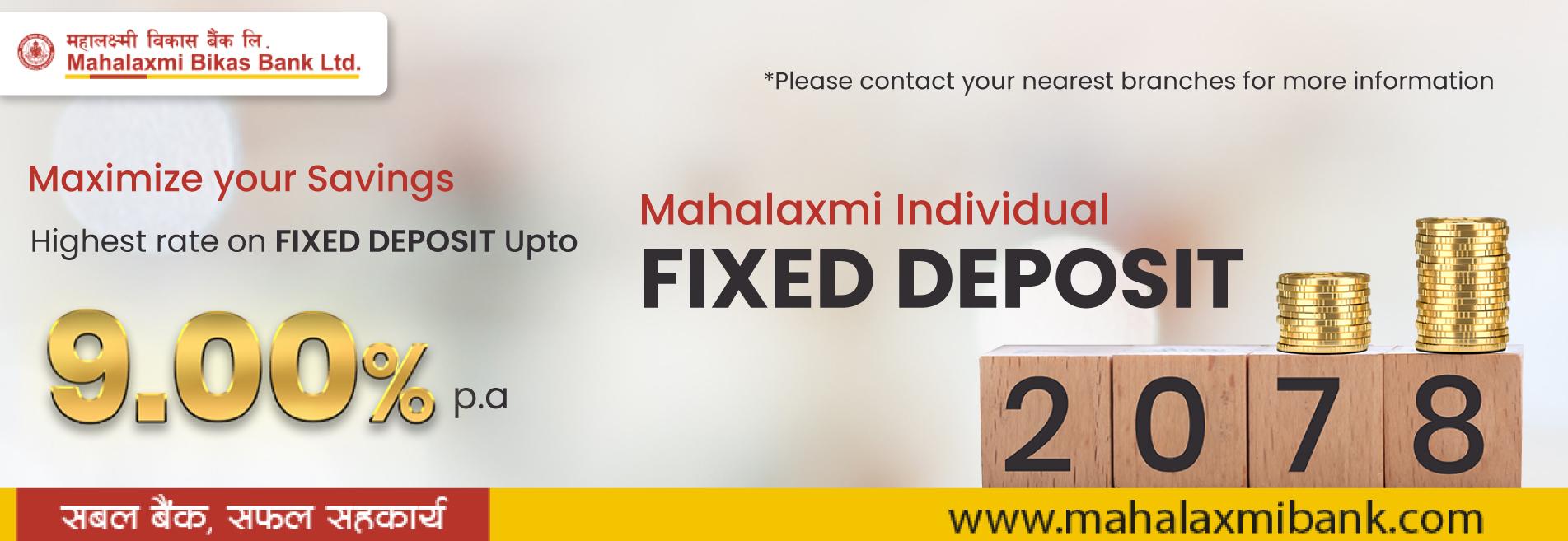 Mahalaxmi Fixed Deposit Accounts